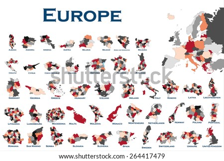 High detailed editable, political map of all European countries. - stock vector
