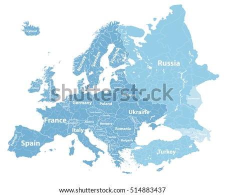 High Detailed Europe Political Map Country Stock Vector 514883437