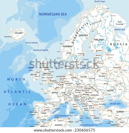 High detailed Europe road map with labeling. - stock vector