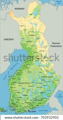High detailed finland physical map labeling stock vector 703932838 high detailed finland physical map with labeling sciox Images