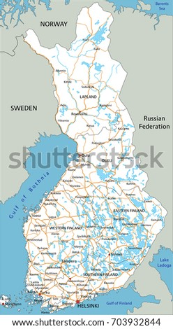 High Detailed Finland Road Map Labeling Stock Vector 703932844