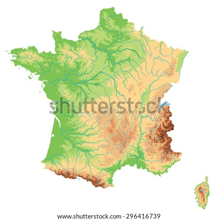 High detailed France physical map. - stock vector