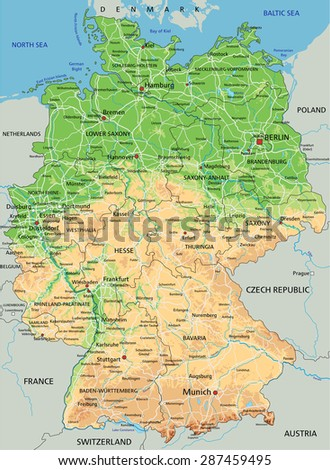 High detailed Germany physical map with labeling. - stock vector