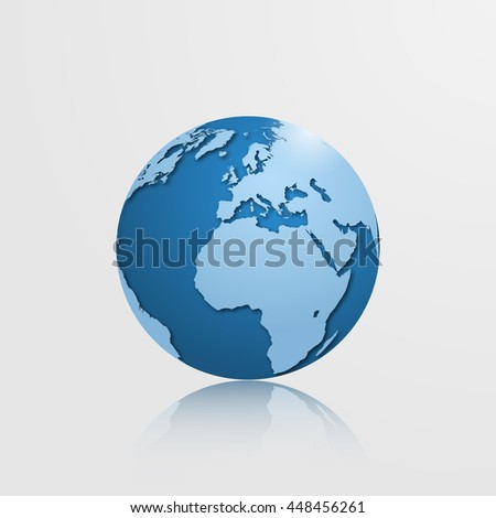 High detailed globe with Europe, Africa, North and South America. Vector illustration.