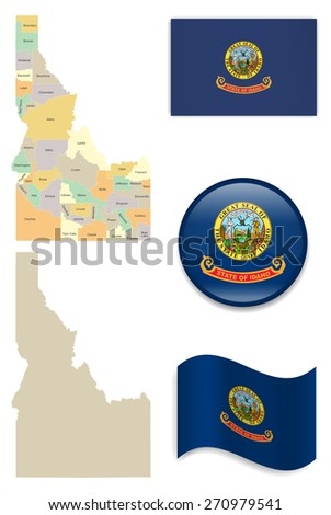 High Detailed Idaho Map and Flag Icons - stock vector