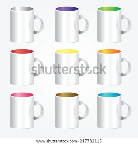 High detailed illustration of colorful cups - vector