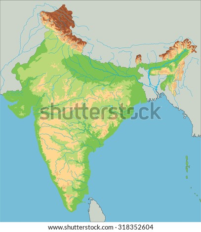 High Detailed India Physical Map Stock Vector 318352604 Shutterstock