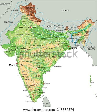 High Detailed India Physical Map With Labeling.