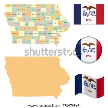 High Detailed Iowa  Map and Flag Icons - stock vector