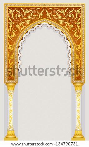 High detailed islamic art arch - stock vector