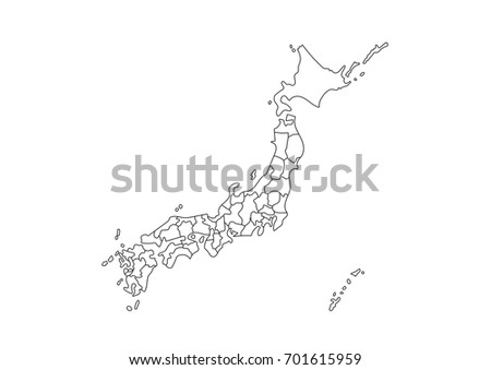 High Detailed Map Japan On Black Stock Vector Shutterstock - Japan map sketch