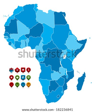 High detailed Map of Africa - stock vector