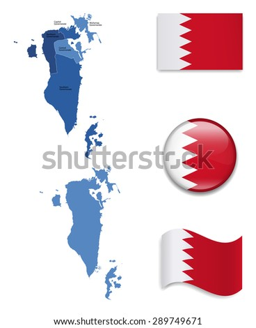 High Detailed Map of Bahrain With Flag Icons - stock vector