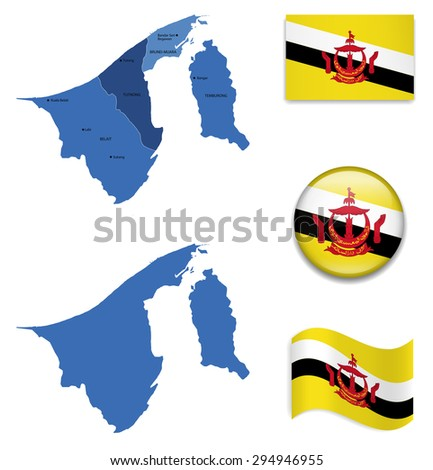 High Detailed Map of Brunei With Flag Icons - stock vector