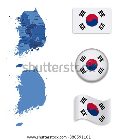 High Detailed Map of South Korea With Flag Collection
