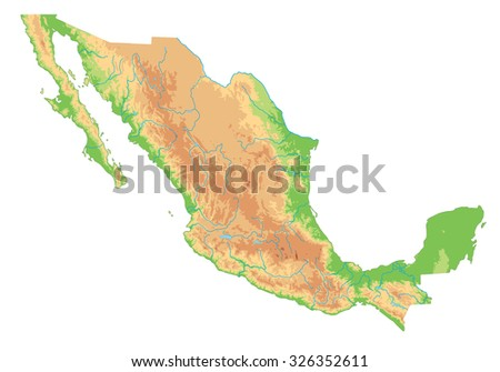 High detailed Mexico physical map. - stock vector