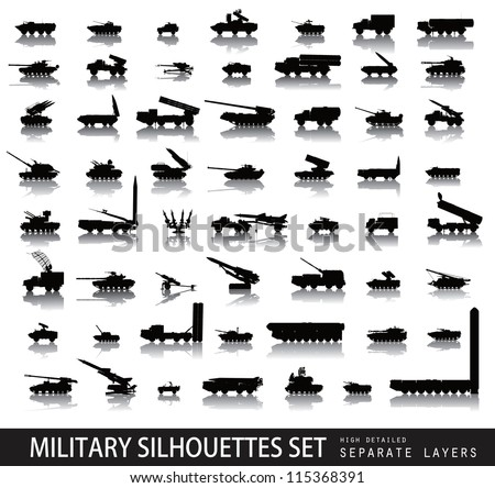 High detailed military silhouettes set. Vector on separate layers - stock vector