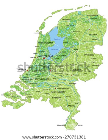 High Detailed Netherlands Physical Map Labeling Stock Vector
