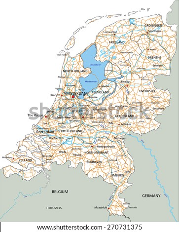 High detailed Netherlands road map with labeling. - stock vector