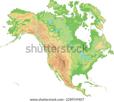 High Detailed North America Physical Map Stock Vector 228959407