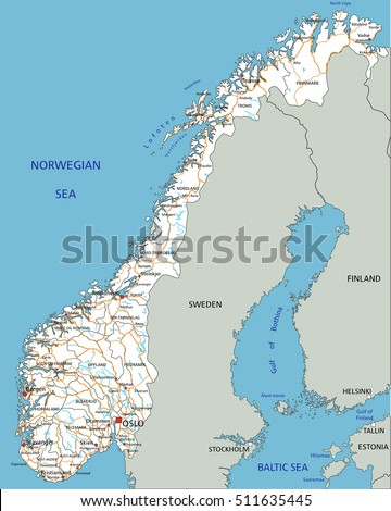 Highly Detailed Editable Political Map Separated Stock Vector - Norway highway map