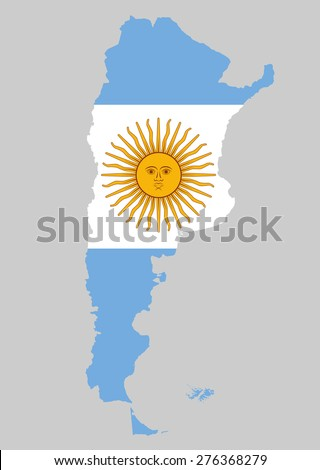 High detailed of Argentina vector illustration map with flag - stock vector