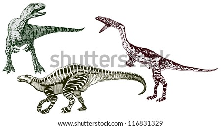 High Detailed Realistic Hand Drawn Vector Set of Three Dinosaurs - stock vector
