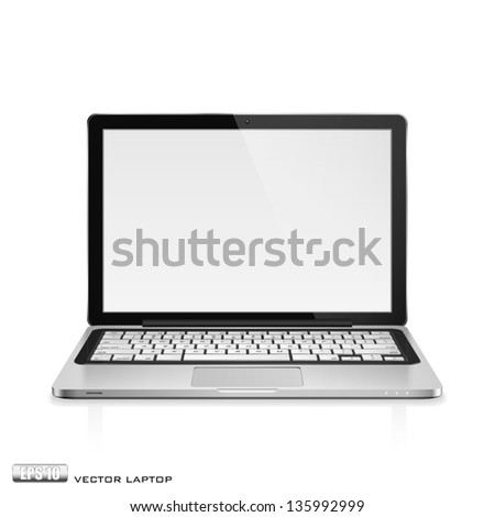 High detailed realistic vector illustration of modern laptop with blank screen on white background. - stock vector