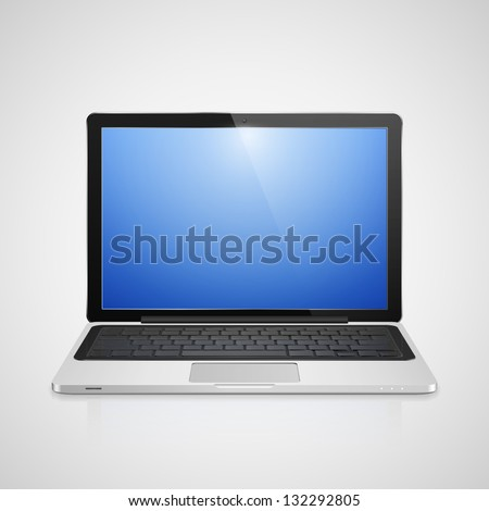 High detailed realistic vector illustration of modern laptop with blue screen on gray background. - stock vector