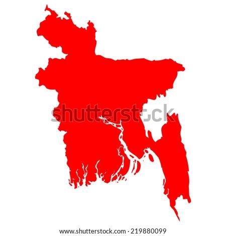 High detailed red vector map - Bangladesh  - stock vector