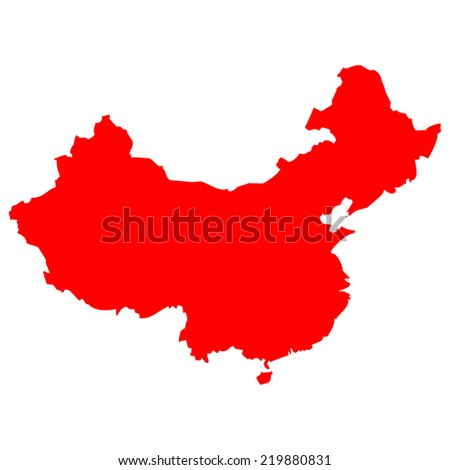 High detailed red vector map - China  - stock vector