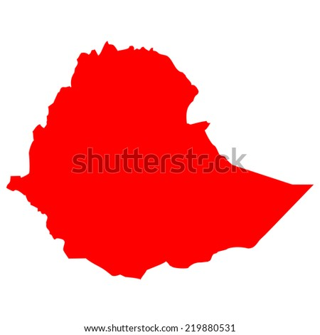 High detailed red vector map - Ethiopia  - stock vector
