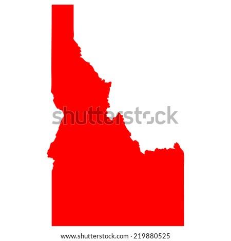 High detailed red vector map - Idaho  - stock vector