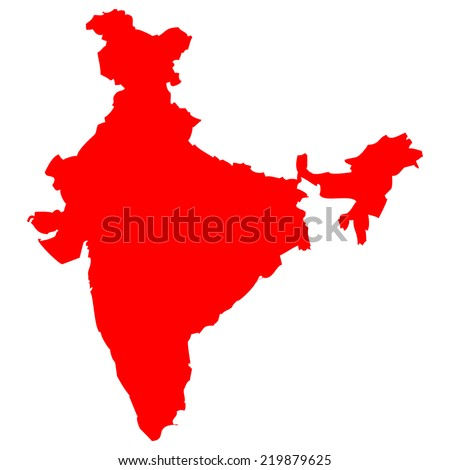High detailed red vector map - India  - stock vector