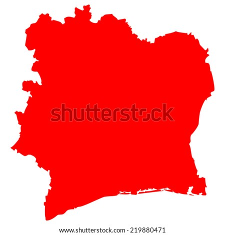 High detailed red vector map - Ivory Coast