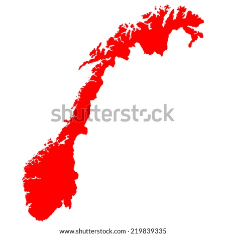 High detailed red vector map - Norway  - stock vector