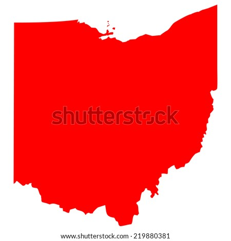High detailed red vector map - Ohio  - stock vector