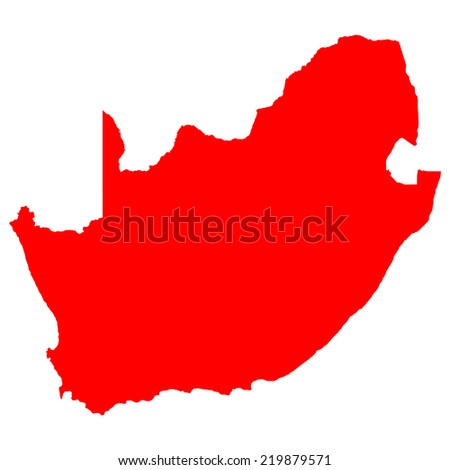 High detailed red vector map - South Africa  - stock vector