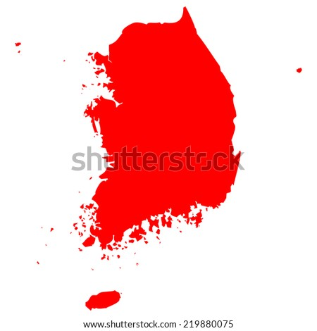 High detailed red vector map - South Korea