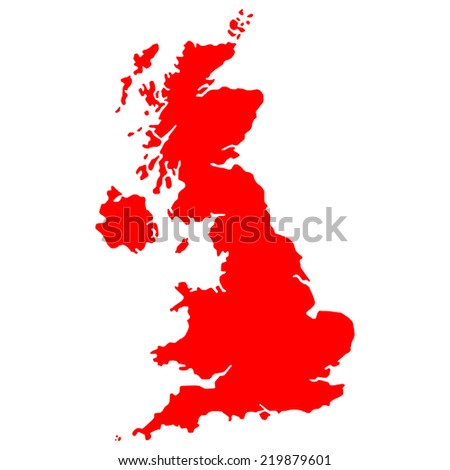High detailed red vector map - United Kingdom  - stock vector