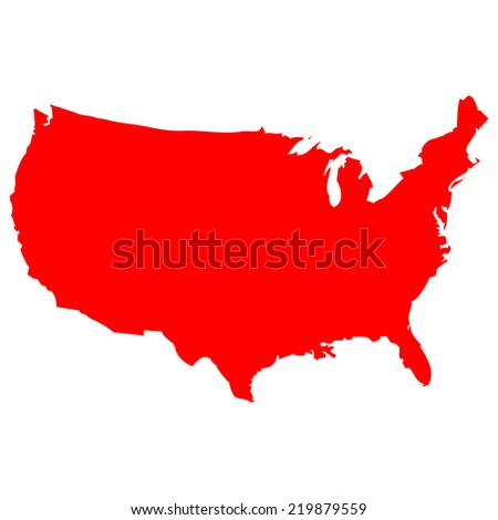 High detailed red vector map - United States