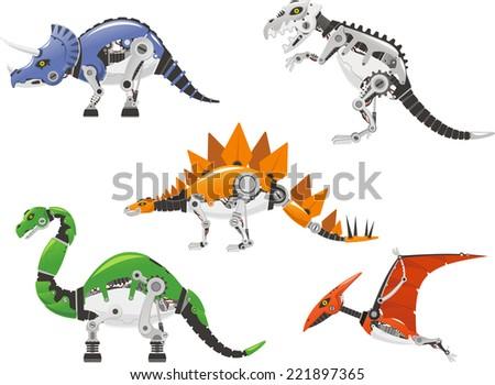 High detailed Robot dinosaur cartoon collection.  - stock vector