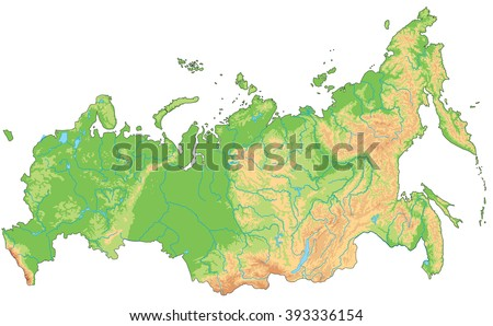 High Detailed Russia Physical Map Stock Vector 393336154 Shutterstock