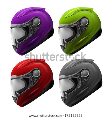 High Detailed Set of 4 Realistic Motorcycle Helmets Red, Green, Purple, Black - stock vector