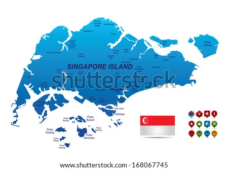 High detailed Singapore Map - stock vector