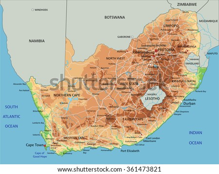 High Detailed South Africa Physical Map Stock Vector 361473821