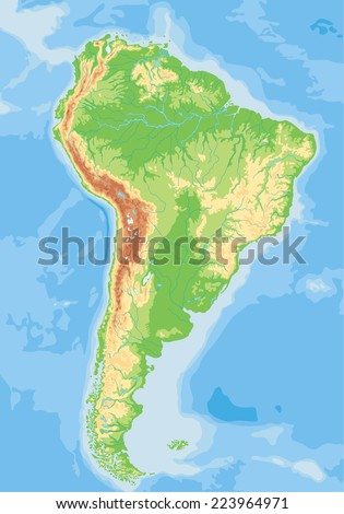 High detailed South America physical map. - stock vector