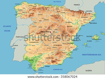 high detailed spain physical map labeling stock vector