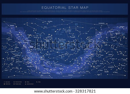 High detailed star map with names of stars, contellations and Me - stock vector