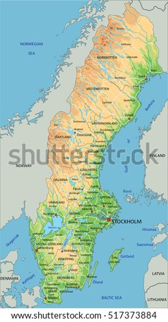 High Detailed Sweden Physical Map Labeling Stock Vector - World physical map labeled